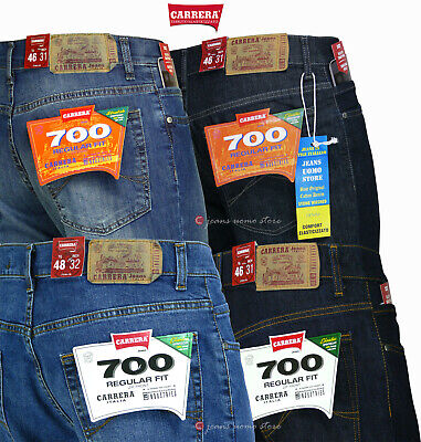 Carrera 700 Jeans Uomo Pantalone denim stretch regular casual 2 colori tg. 46/62