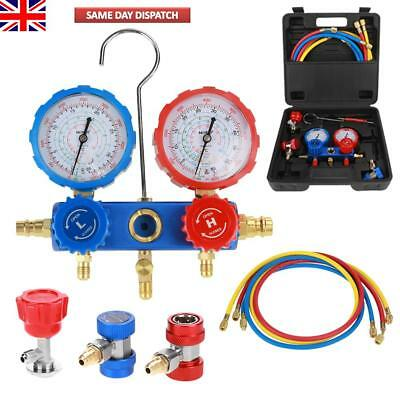 R134A Manifold Gauges Set A/C Tester  Air Conditioning w/ 1.5 Charging Hoses UK