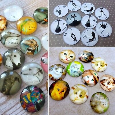 Pack of 10 Animal cabochons, Dogs, Cats and Kittens, Cabochons Mix, pets cabs