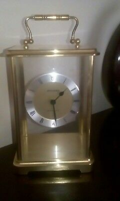 "Quartz brass carriage mantle clock, Staiger, 8"" tall, Working"