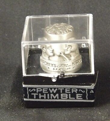 """Vintage Hershey's Pewter Thimble """" A Kiss For You"""" in plastic case."""