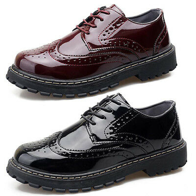 New Mens Lace Up Casual Smart Patent Leather Office Work Brogues Formal Shoes