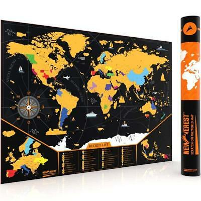 """Scratch off Map of the World, Detailed Cartography Travel Map US States 24""""x17"""""""