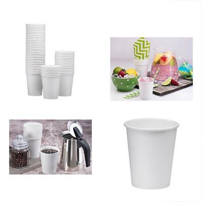 100-Pack 8oz White Paper Disposable Cups Hot/Cold Beverage Drinking For Water,