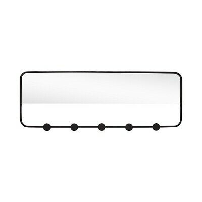 Black Coat Rack With 5 Hooks & Mirror by Hubsch