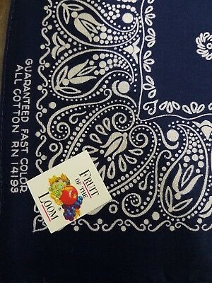 Vintage 1960s blue bandana Fruit of the Loom Guaranteed Fast Color workwear NOS