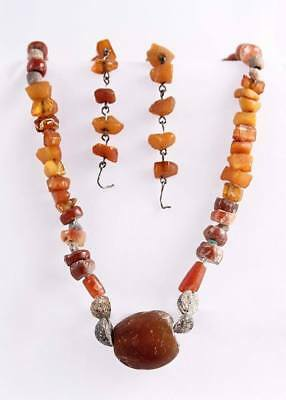 Sumerian necklace and earrings from amber and carnelian 2000 years BC