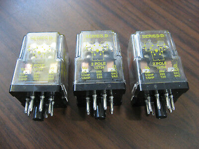 Lot of 3 Square D 8501 KPD12V53 Cube Relays (8 Pin Round,  24 VDC Coil)