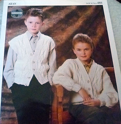 Vintage Sirdar Childs Cardigan & Waistcoat   in Aran  Knitting Pattern No:4801
