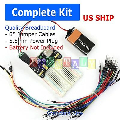 830 Point Solderless Breadboard 65 Pcs Jumper Cable ½Mb-102 Power Supply Module