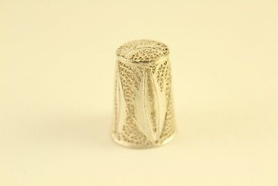 Vintage Antique .925 Sterling Silver Ornate Filigree Sewing Thimble