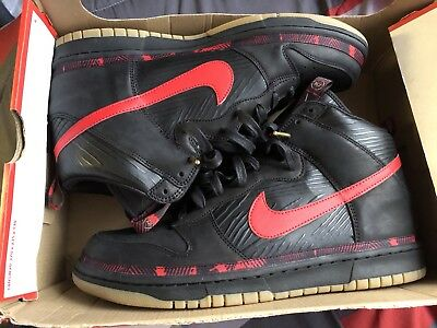 free shipping 12814 76a45 Mens Nike DUNK HIGH PREMIUM N7 Shoes -Black Red Gum -AA1126 001