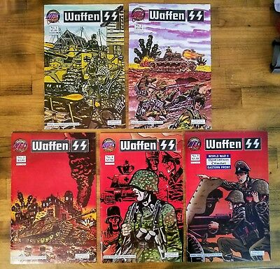 NEC New England Comics WAFFEN SS #1-5, five issues black & white comic art