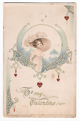 Vintage 1913 Valentine Postcard. Great Art and design!