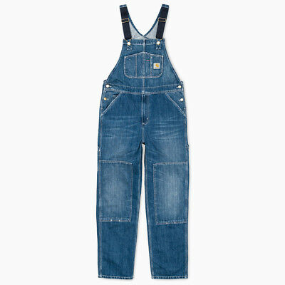 CARHARTT WIP BIB OVERALL, CANYON, BLUE STRAND WASHED, W34in L32in
