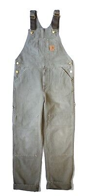 Carhartt WIP Bib Overall, Canvas, Leaf Stony Washed, W38in L32in