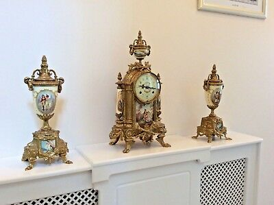 STUNNING CLOCK GARNITURE by FRANS HERMLE and LANCINI, IN EXCELLENT ORDER.