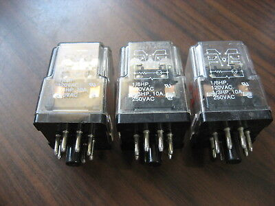 Lot of 3 Potter & Brumfield KRPA-11AN-120 Cube Relays (8 Pin Round,  120 VAC)