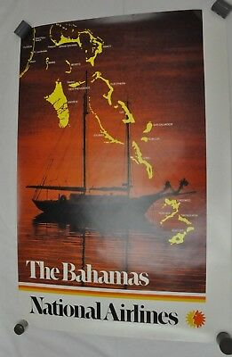 RARE Vintage National Airlines Travel Poster The Bahamas