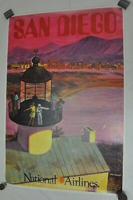 RARE Vintage National Airlines Travel Poster San Diego