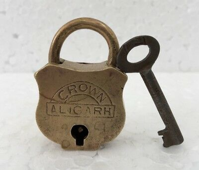 Old Vintage Solid Brass Padlock Lock With Key Rich Patina Crown Collectible