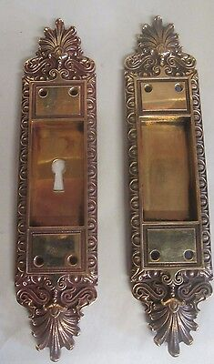 Fancy Set Antique Victorian Polished Brass/bronze Pocket Door Pulls # 23 Sale !