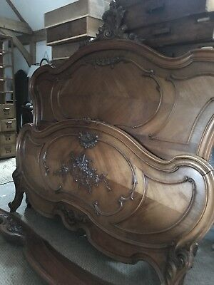 Antique French Walnut Louis XV Double Bed Frame