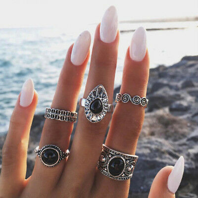 Trendy Vintage Knuckle Rings Hippie Tail Ring Joint Ring Set For Women Ladies G