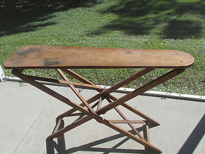 Antique Wooden Iron Ironing Board Primitive Hand Made Farmhouse Display