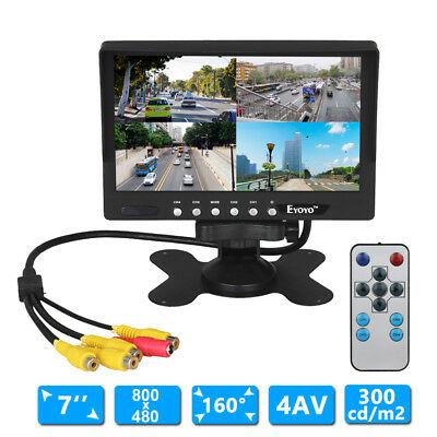 "EYOYO 7""LCD 800*480 300cd/m2 Rear View Monitor 4AV Input+Wired Camera+Remote Kit"