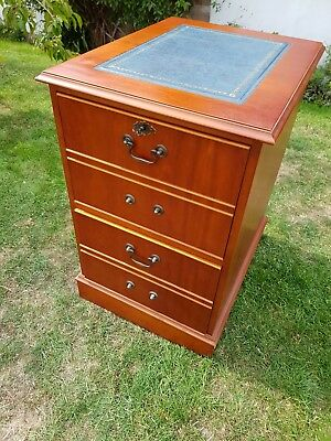 Reproduction antique blue leather topped 2 drawer filing cabinet