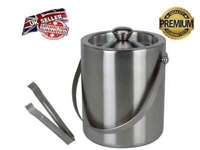 Silver Ice Bucket With Tongs Stainless Steel Party Double-Walled Insulated