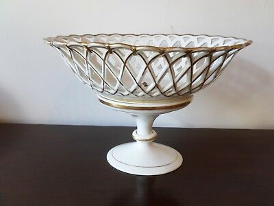Antique Old Paris Porcelain Oval Reticulated Tazza , early 19th century