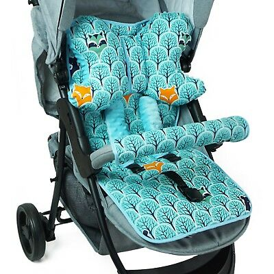 Cotton Baby Stroller Buggy Pram Pushchair Liner Cover Mat + Pillow + Belts Cover