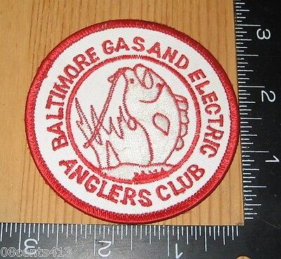 Baltimore Gas and Electric Anglers Club Circle Red & White Cloth Patch