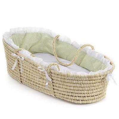 Badger Basket Natural Moses Basket with Gingham Bedding, Sage