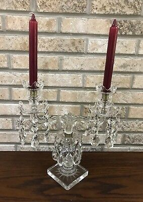 Vintage 2 Arm Glass Candle Stick Vintage with Removable Dangling Crystal Prisum