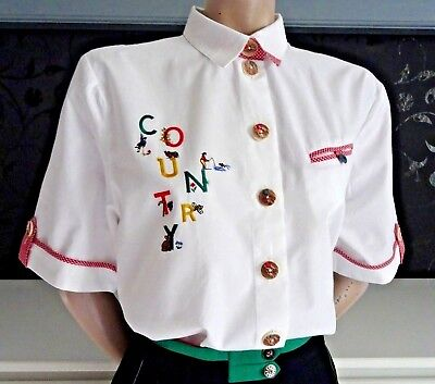 German Bavarian New Trachten Embroidered Blouse US 8 Dirndl Country Line Shirt