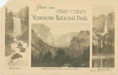 Yosemite National Park Scened from Camp Curry 3 Views RPPC UDB Postcard