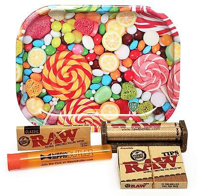 RAW 1 1/4 Rolling Papers, 79mm Roller, Leaf Lock Gear Mini Tray (Candy) and MORE