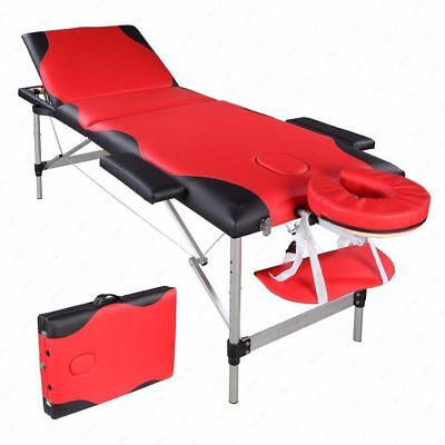 3 Sections Folding Aluminum Tube SPA Bodybuilding Massage Table Red with Black