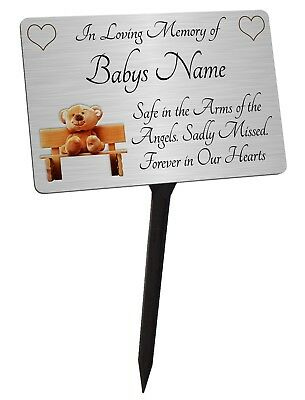 Personalised Baby - Child Memorial Silver Plaque & Stake. For a Boy or Girl.