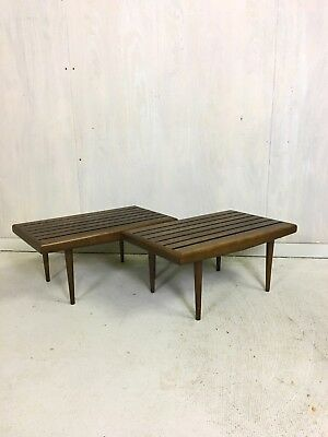 Pair of Mid Century Modern Slat SIde Tables Accent Tables End Tables