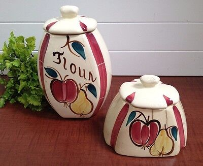 2 Purinton Slip Ware Apple Hand Painted Half Oval Canister for Flour and Coffee