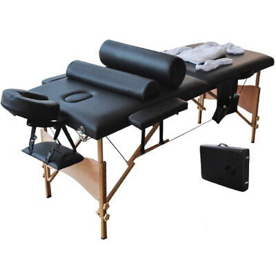 2 Sections Folding Portable SPA Bodybuilding Massage Table Spa Facial Bed Black