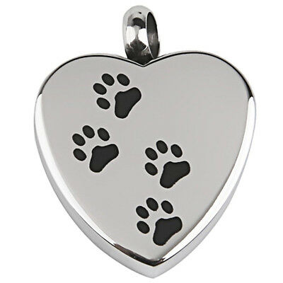 Dog Paw print on Heart Stainless Steel Cremation Pendant Antique Silver I1W7