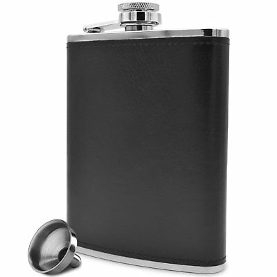 Pocket Hip Flask 8 Oz 18/8 Stainless Steel with Black Leather Wrap Outdoor New