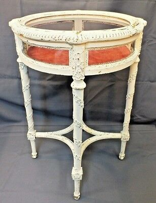 Antique Victorian Curio Display Cabinet Vitrine Table w Glass Top + Curved Sides