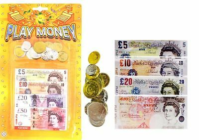 Childrens Kids Pretend Toy Fake Money £ Cash Notes Coins Role Play At Shops Game