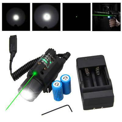 Combo Tactical LED Light Red/Green Laser Sight Flashlight Rail Mount + Switch VQ